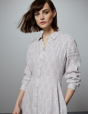Krem Desenli Gömlek Elbise