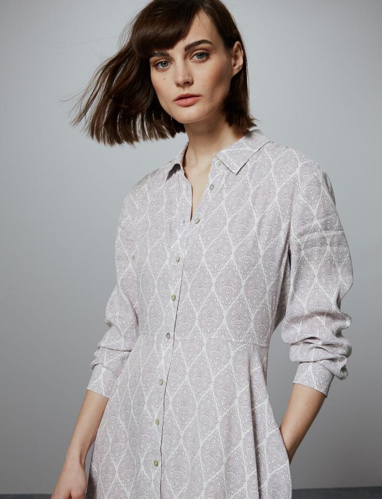 Kadın Krem Desenli Gömlek Elbise
