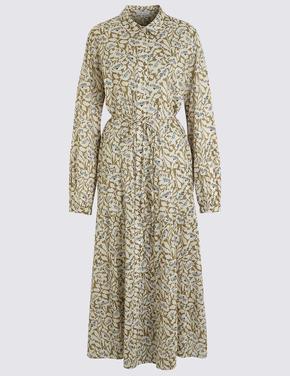 Krem Gömlek Elbise