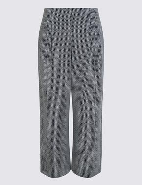 Lacivert Cropped Wide Leg Pantolon