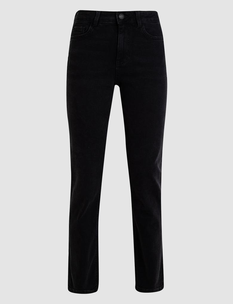 Kadın Siyah Straight Fit Pantolon