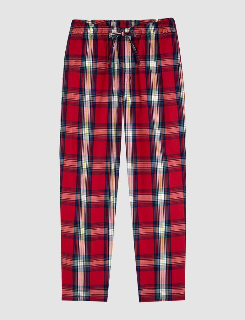 Erkek Kırmızı Yılbaşı Temalı Ekose Pijama Takımı