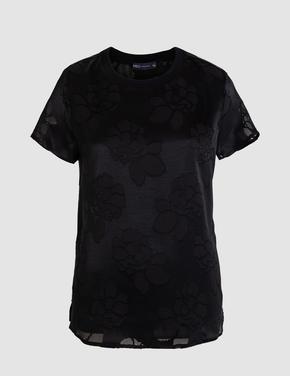 Siyah Çiçek Desenli Kısa Kollu Bluz