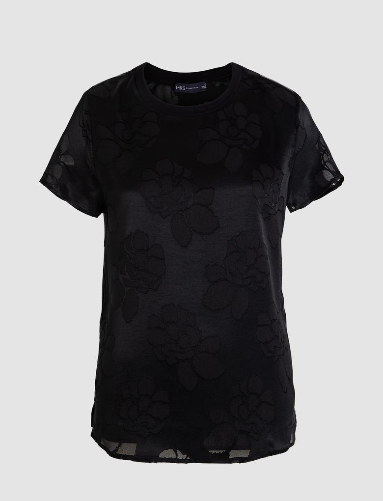Kadın Siyah Çiçek Desenli Kısa Kollu Bluz