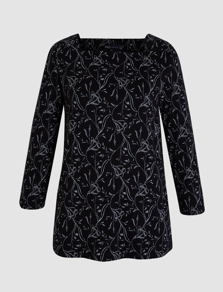 Kadın Siyah Kare Yaka T-Shirt