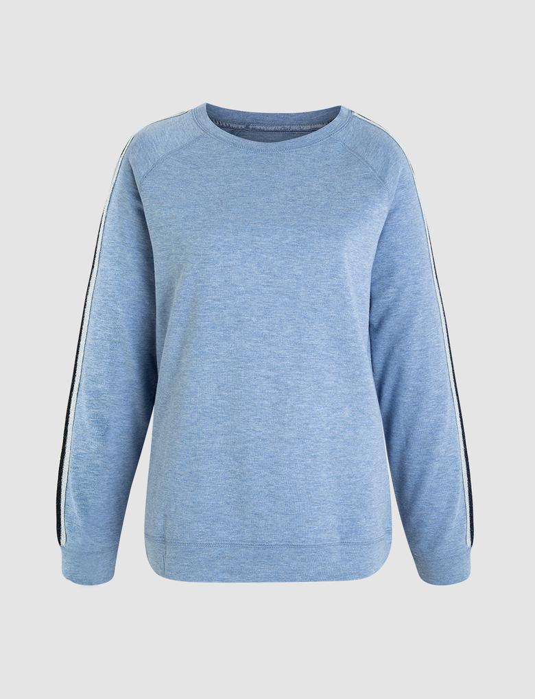Kadın Mavi Yanları Şeritli Pijama Takımı