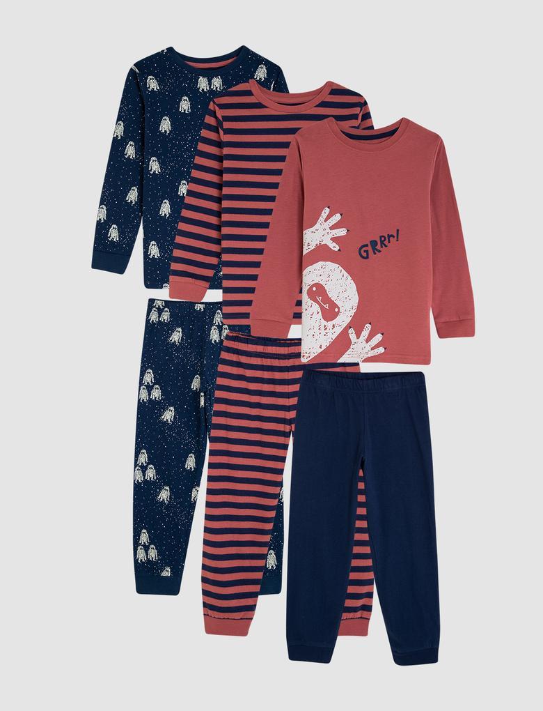 Erkek Çocuk Kırmızı 3'lü Pijama Takımı