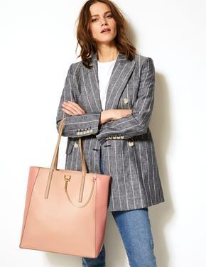 Kadın Pembe Zincir Detaylı Shopper Çanta