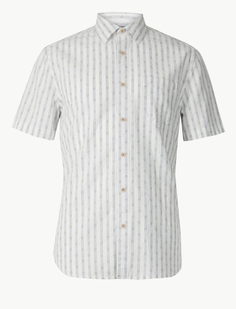 Çizgili Kısa Kollu Gömlek