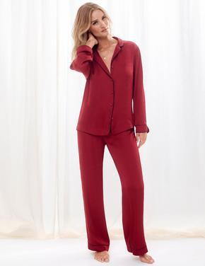 Kadın Kırmızı Saten Pijama Takımı