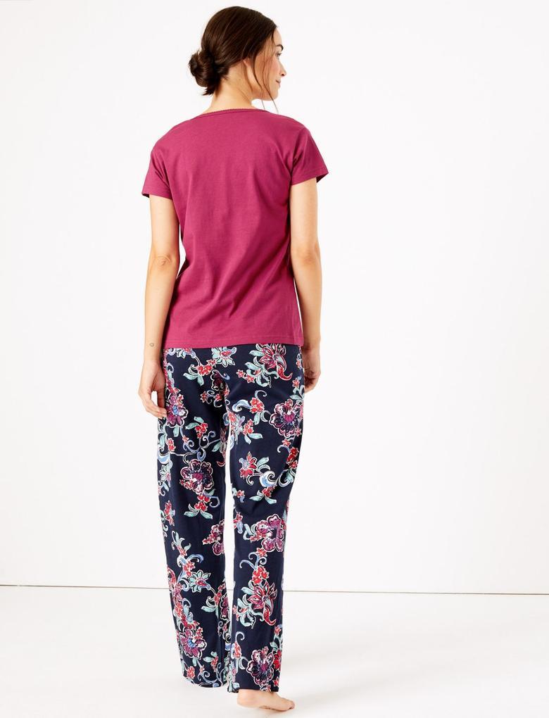 Kadın Lacivert Çiçek Desenli Pijama Takımı