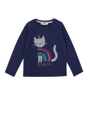 Kedi Desenli Uzun Kollu T-Shirt