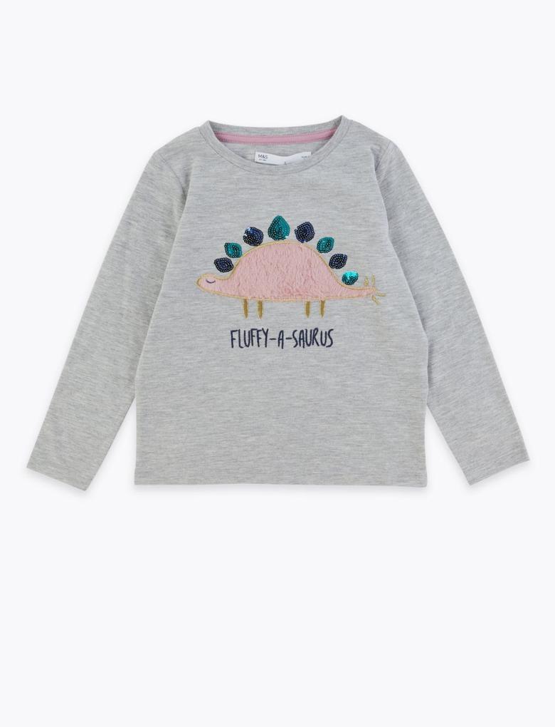 Kız Çocuk Gri Dinozor Desenli Uzun Kollu T-Shirt