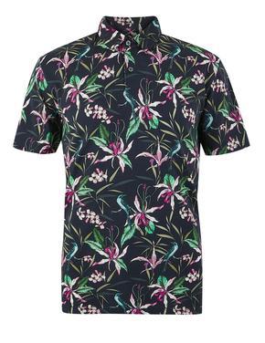 Erkek Lacivert Saf Pamuklu Desenli Polo Yaka T-shirt