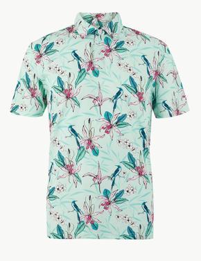 Erkek Mavi Saf Pamuklu Desenli Polo Yaka T-shirt
