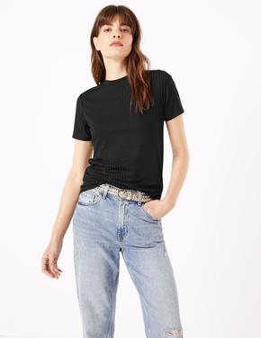 Kadın Siyah Yuvarlak Yaka Fitilli T-Shirt