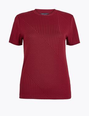 Kadın Bordo Yuvarlak Yaka Fitilli T-Shirt