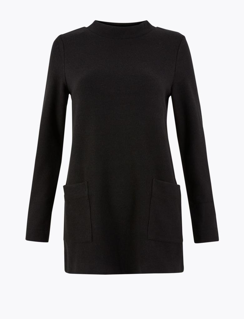 Kadın Siyah Pamuk Karışımlı Uzun Kollu Tunik