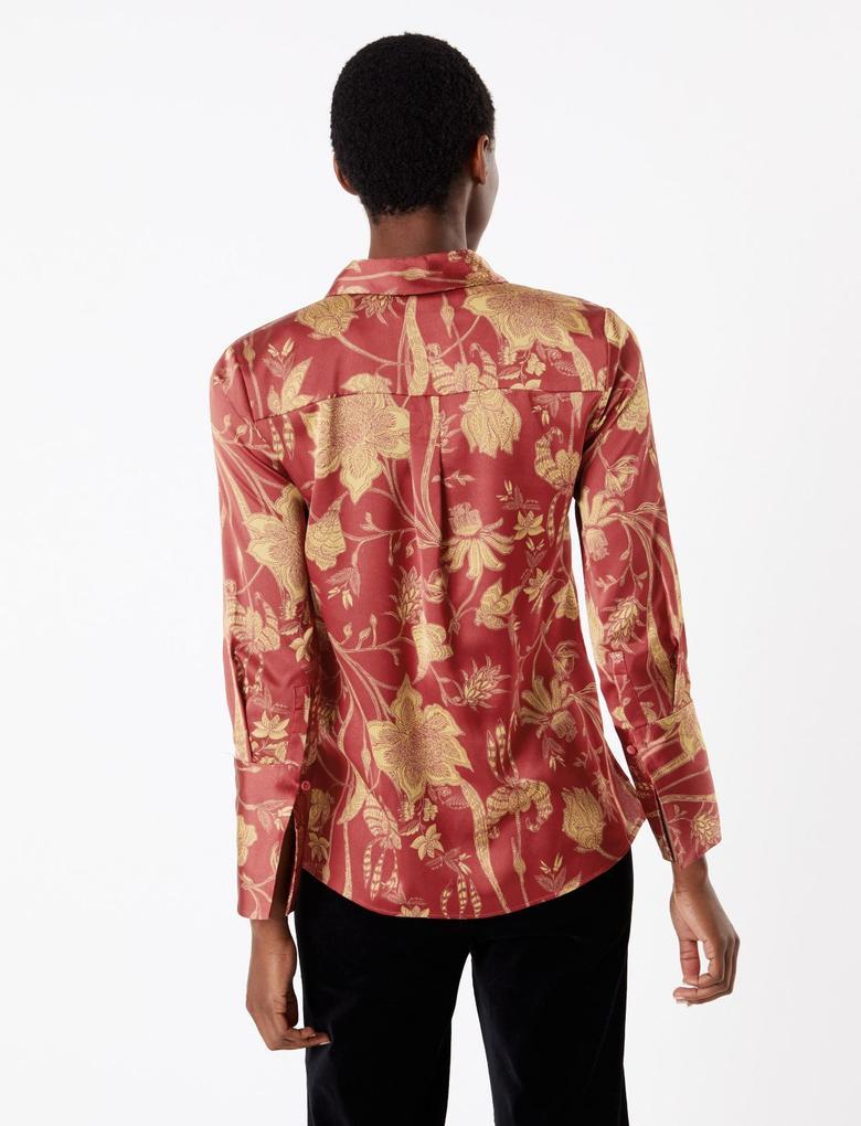 Kadın Kırmızı Çiçek Desenli Saten Gömlek
