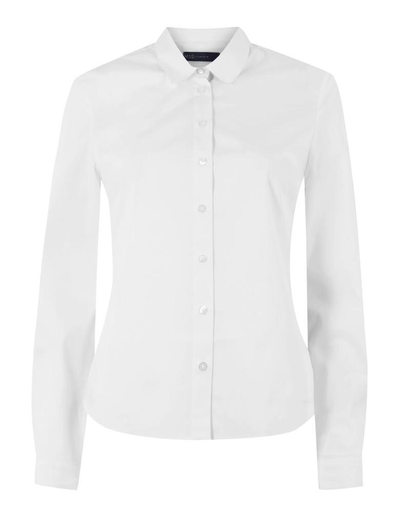 Kadın Beyaz Düğme Detaylı Gömlek