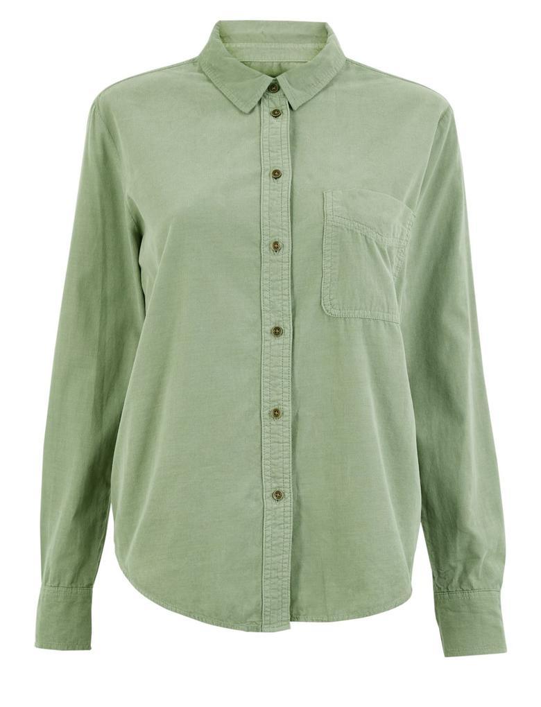 Kadın Yeşil Saf Pamuklu Kadife Gömlek