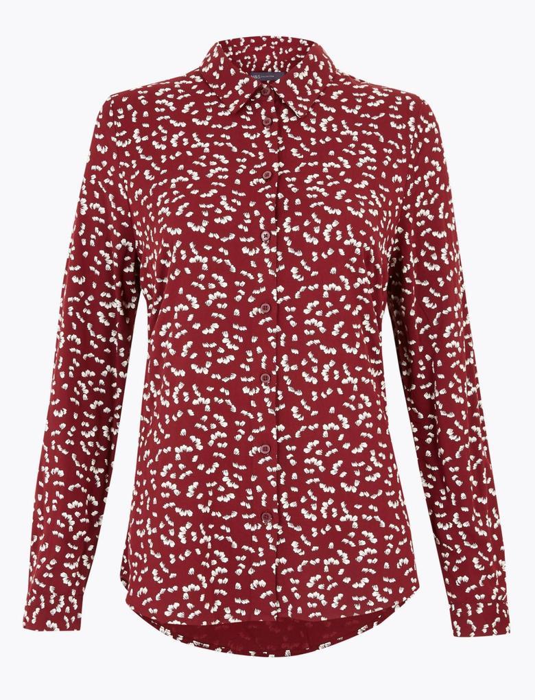 Kadın Bordo Desenli Relaxed Fit Gömlek