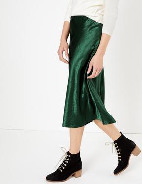 Kadın Yeşil Slip Midi Etek
