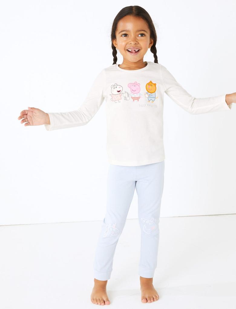 Kız Çocuk Lacivert 2'li Peppa Pig™ Pijama Seti