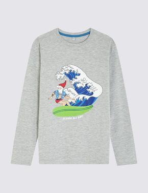 Erkek Çocuk Multi Renk Uzun Kollu Desenli T-Shirt