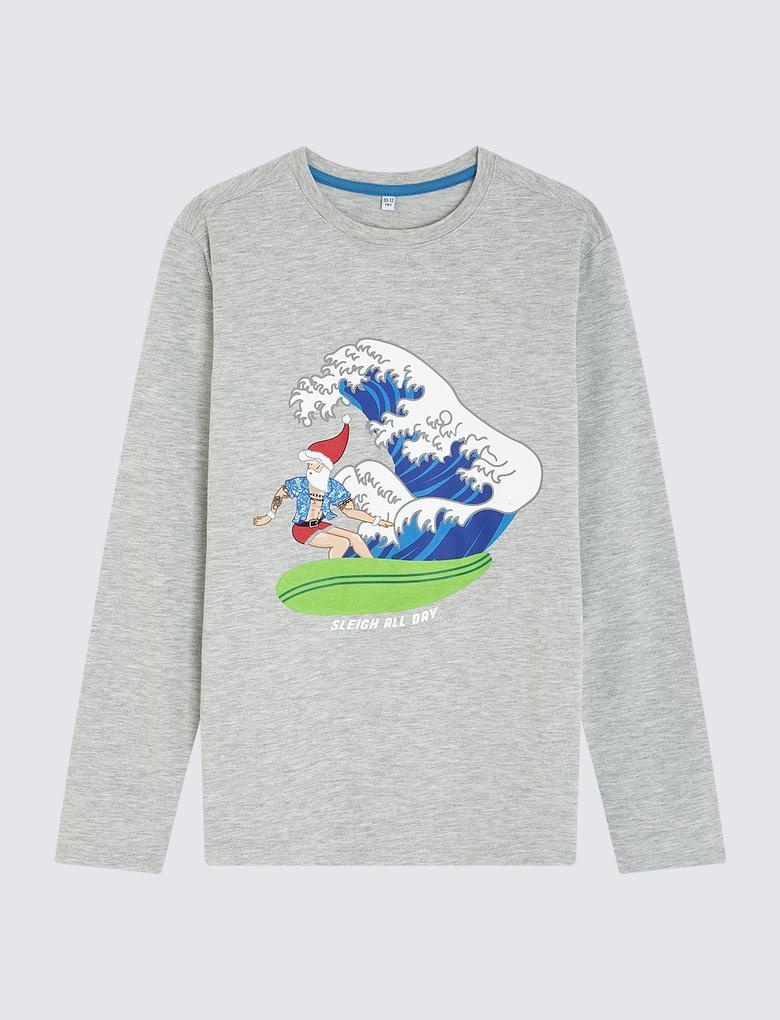 Multi Renk Uzun Kollu Desenli T-Shirt