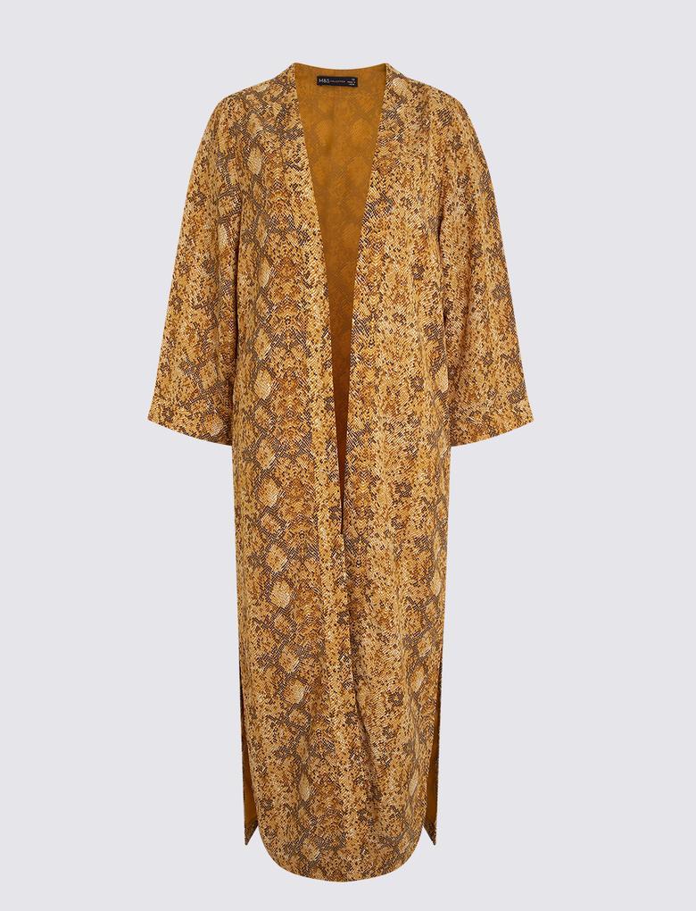 Kadın Kahverengi Kimono Bluz
