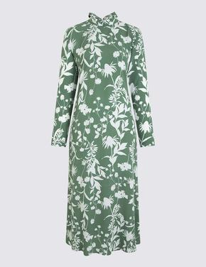 Çiçek Desenli Relaxed Midi Elbise