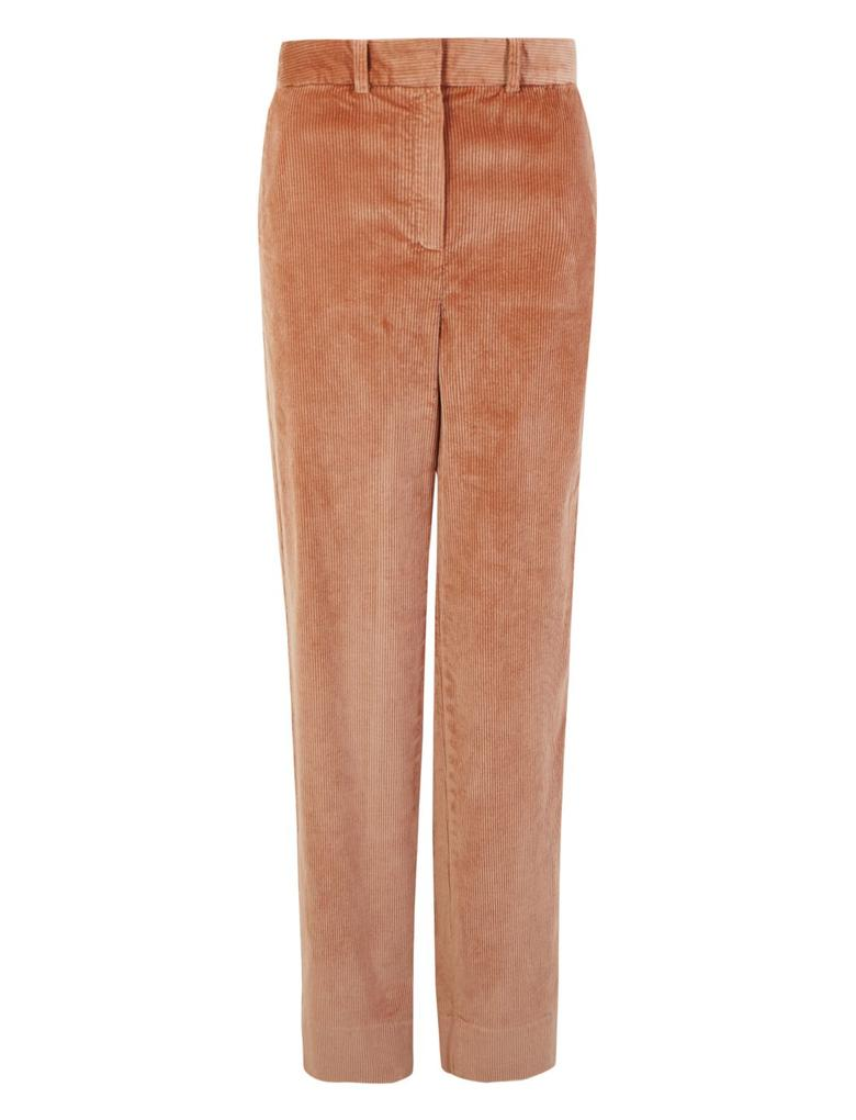 Kadın Kahverengi Kadife Straight Leg Ankle Pantolon