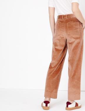 Kahverengi Kadife Straight Leg Ankle Pantolon
