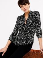Kadın Siyah Desenli Relaxed Fit Gömlek