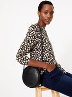 Kadın Gri Uzun Kollu Çiçek Desenli Bluz