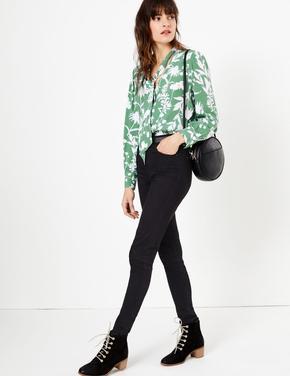 Kadın Yeşil Çiçek Desenli Yakası Bağlamalı Bluz