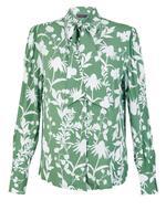 Çiçek Desenli Yakası Bağlamalı Bluz