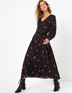 Çiçek Desenli Anvelop Elbise