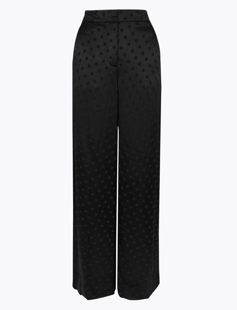 Kadın Siyah Puantiyeli Jakarlı Wide Leg Pantolon