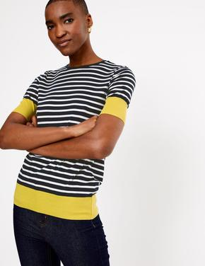 Lacivert Yuvarlak Yaka Çizgili T-Shirt