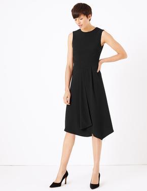 Kadın Siyah Fit & Flare Midi Elbise