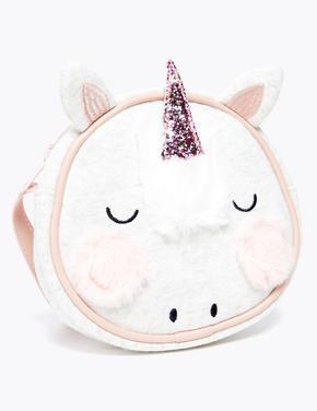 Kız Çocuk Krem Unicorn İşlemeli Çapraz Askılı Çanta