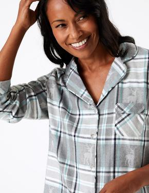 Kadın Gri Ren Geyiği Desenli Pijama Takımı
