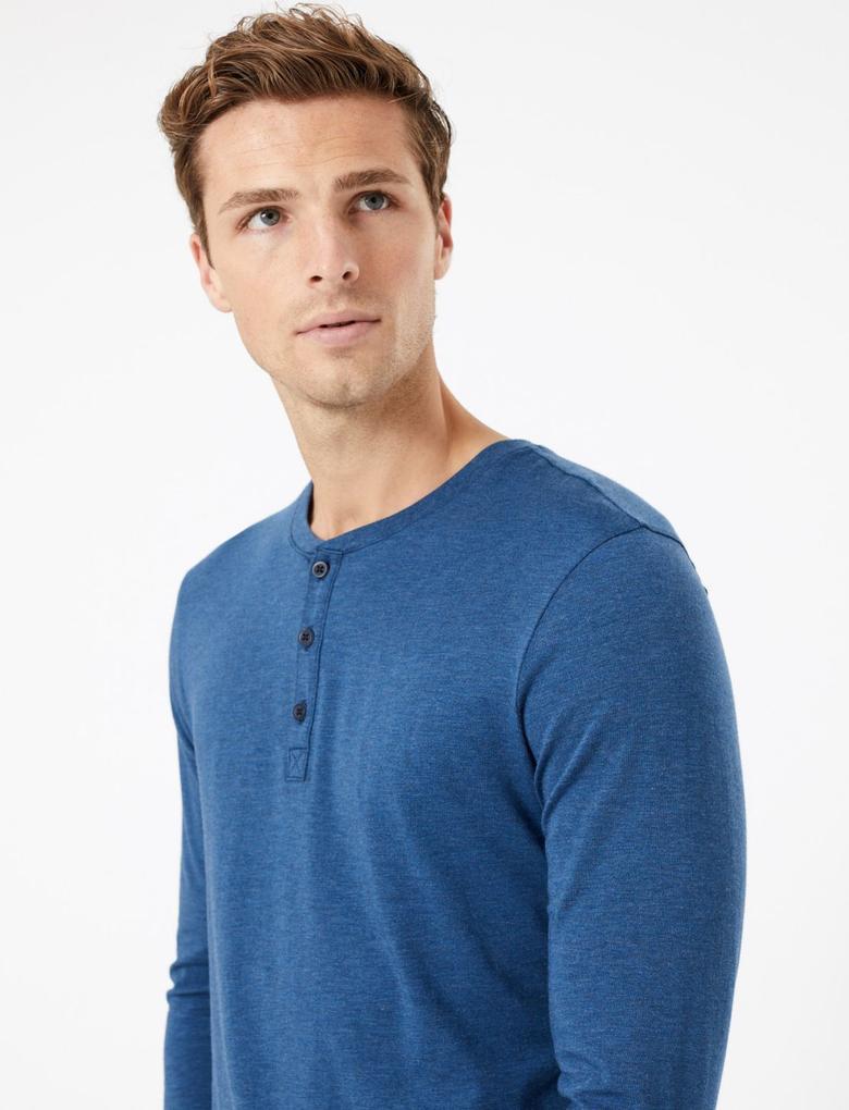 Erkek Mavi Flexifit™ Pamuklu Pijama Üstü