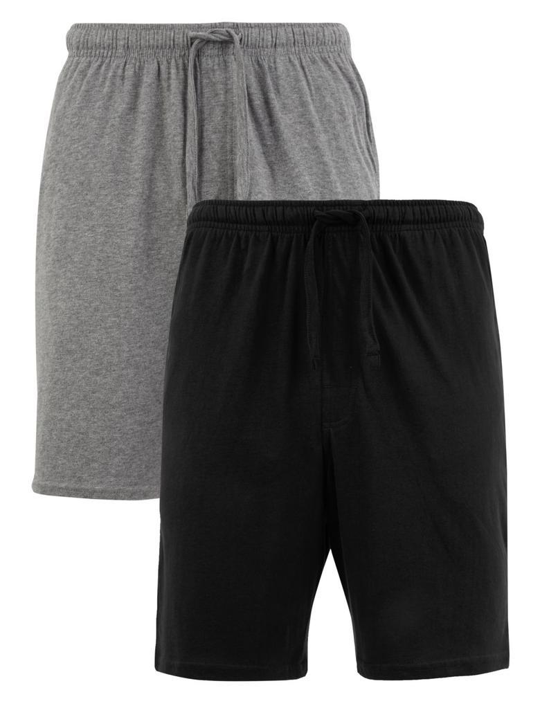 Erkek Siyah 2'li Saf Pamuklu Şort Pijama Altı Seti