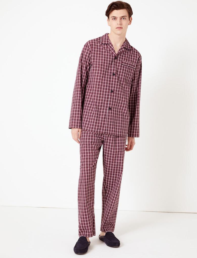 Erkek Kırmızı Ekose Pamuk Karışımlı Pijama Takımı