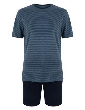 Erkek Lacivert Çizgili Şortlu Pijama Takımı