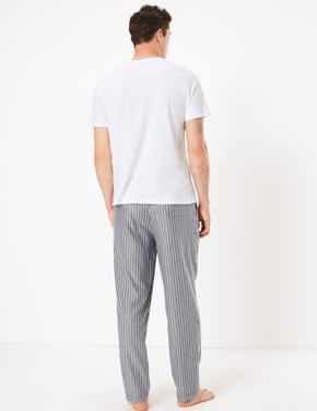 Erkek Mavi Çizgili Pijama Altı
