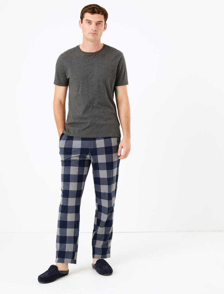Erkek Gri Supersoft Ekose Pijama Altı